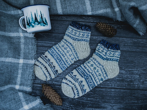 White woolen Nordic socks