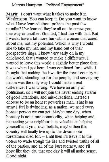 Mark Hampton Political Engagement monologue fro Script