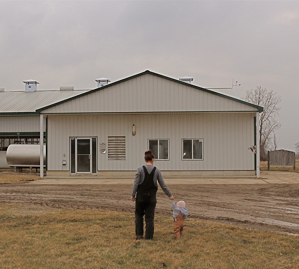 Steph Towers and her daughter. While Steph does 6-7hrs of work on the farm, she does not always identify as a farmer.