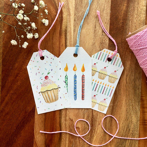 Cake and Candles Gift Tag Pack of 6