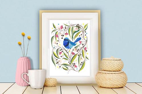 Rainbow Wren (Splendid Fairy Wren) Art Print