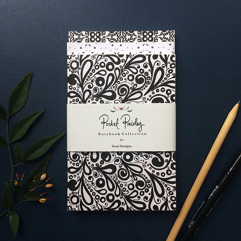 Pocket Paisley A6 Notebook Set