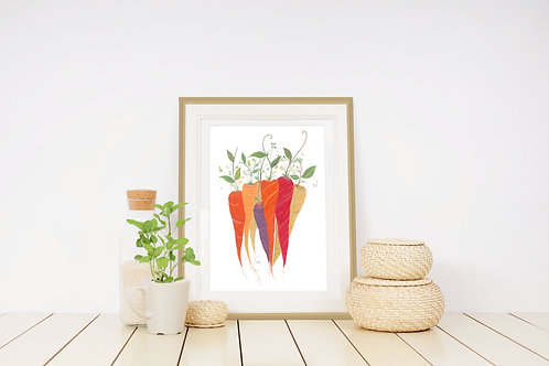 Colourful Carrots Art Print