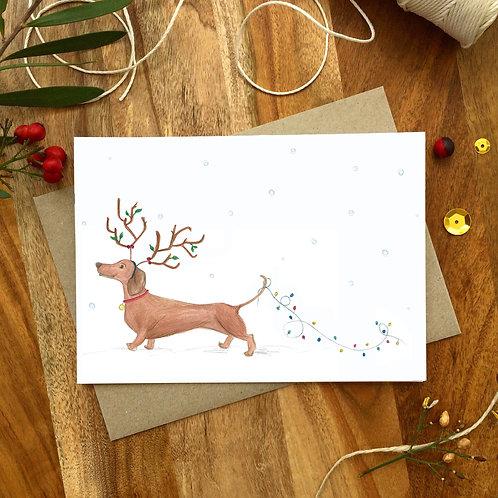 'Dachshund through the Snow' Christmas Card