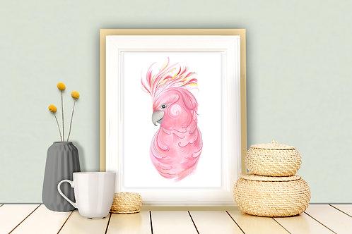 Peaches the Pink Cockatoo Art Print