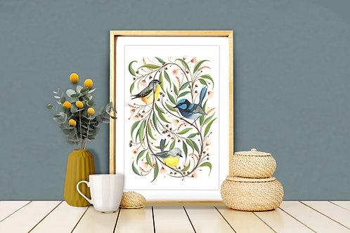 Bush Birds Trio Art Print