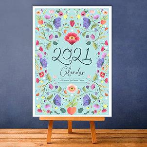 A6 '2021' Floral Desk Calendar + mini easel!