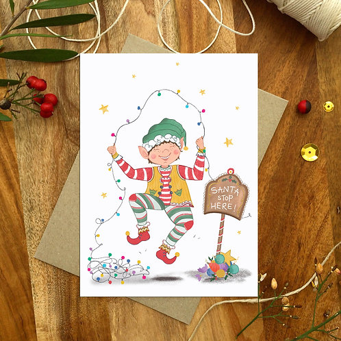 'Happy Elf' Christmas Card