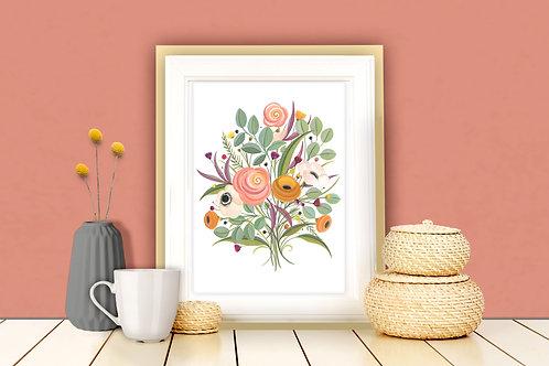 Apricot Bouquet Art Print