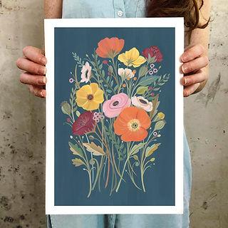 vintage floral gouache art print