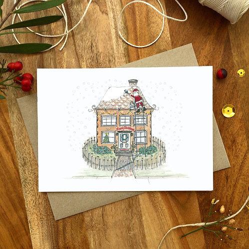'Santa Painting Snow' Christmas Card