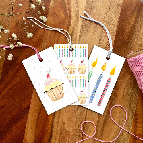 Cake and Candles Gift Tag Pack of 12