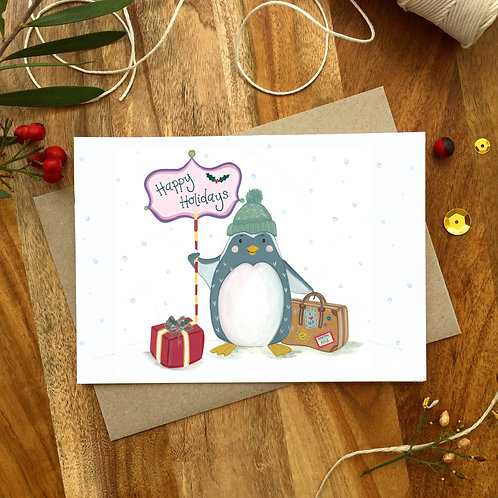 'Holiday Penguin' Christmas Card