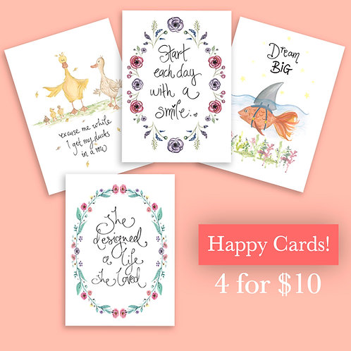 Happy Cards 4 for $10