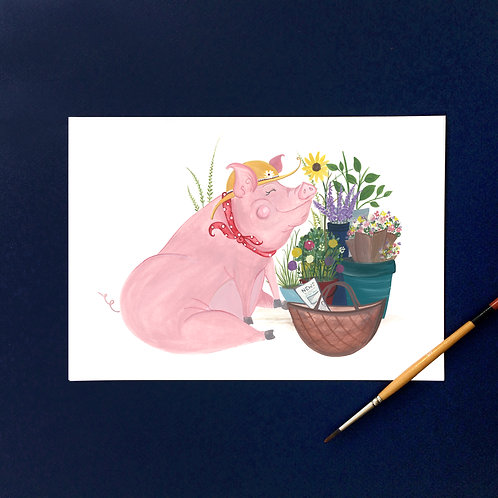 """This Little Piggy bought flowers""- Art Print"