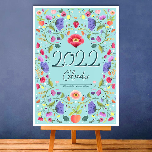 A6 '2022' Floral Desk Calendar + mini easel!