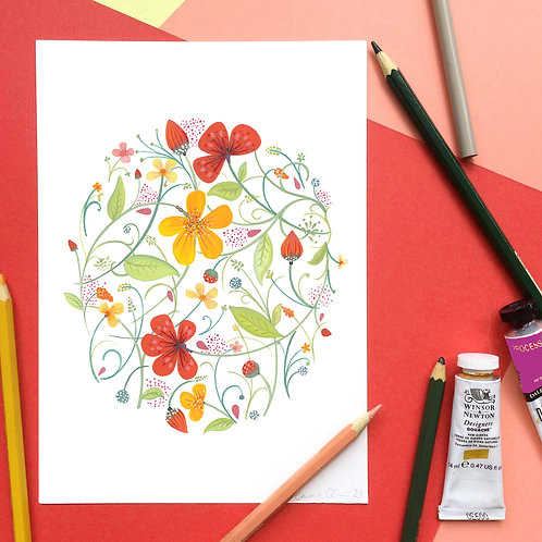 Red and Yellow Blossoms Art Print