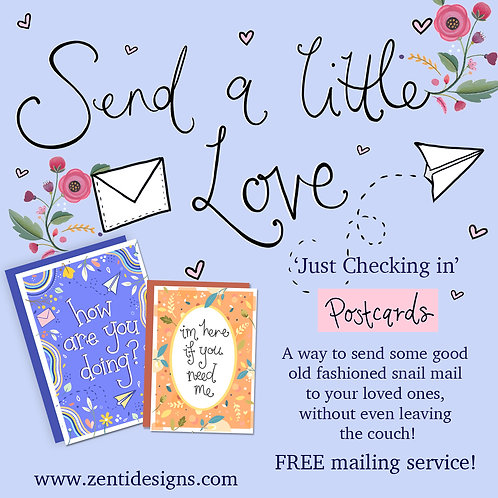 """Send a little love - 'Just Checking in"""" Postcard Mailing Service!"""