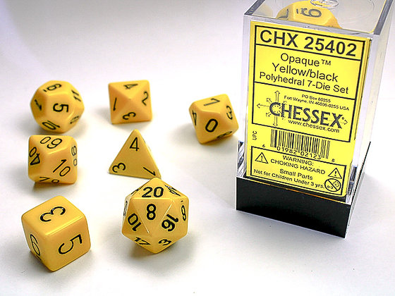 Dice Chessex Opaque 7 Die Set - Yellow with Black