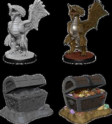 Bronze Dragon Wyrmling  and Sea found treasure - D&D Nolzurs Marvelous Miniature