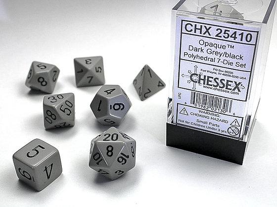 Dice Chessex Opaque 7 Die Set - Dark Grey with Black
