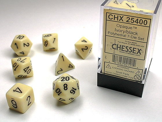 Dice Chessex Opaque 7 Die Set - Ivory with Black
