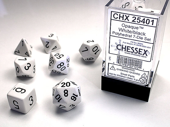 Dice Chessex Opaque 7 Die Set - White with Black