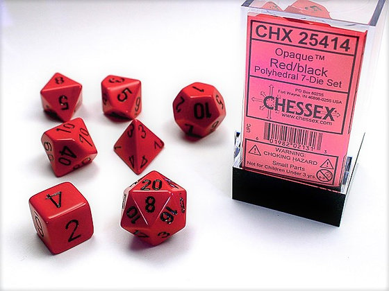 Dice Chessex Opaque 7 Die Set - Red with Black