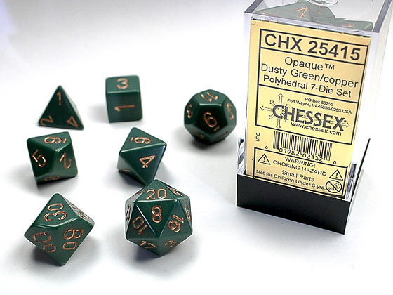 Dice Chessex Opaque 7 Die Set - Dusty Green with Copper