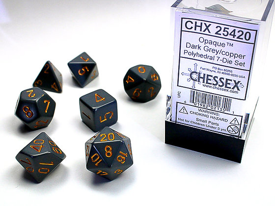Dice Chessex Opaque 7 Die Set - Dark Grey with Copper