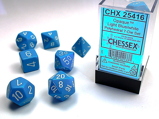 Dice Chessex Opaque 7 Die Set - Light Blue with White