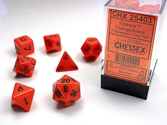 Dice Chessex Opaque 7 Die Set - Orange with Black