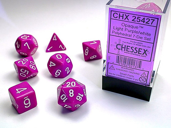 Dice Chessex Opaque 7 Die Set - Light Purple with White