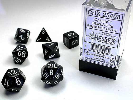 Dice Chessex Opaque 7 Die Set - Black with White