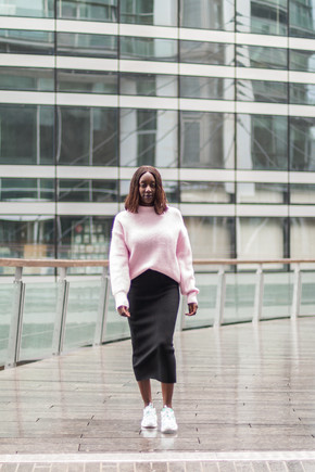 How to style a midi skirt with sneakers