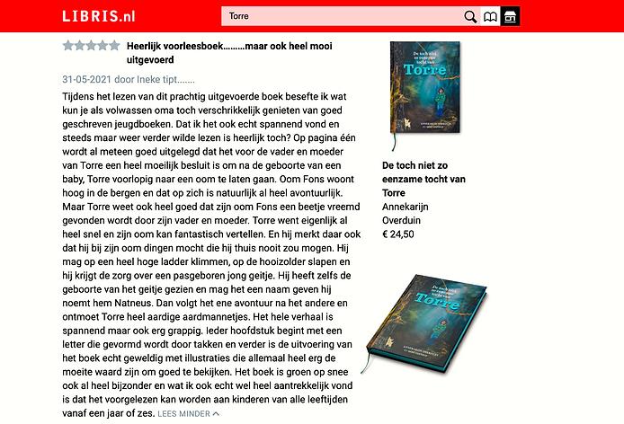 Libris kinderboekrecensie Torre Ineke tipt Libris Kinderboek De toch niet zo eenzame tocht van Torre.png