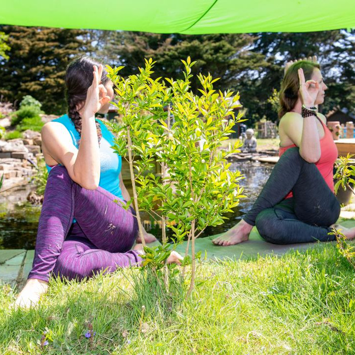 Yoga break in countryside