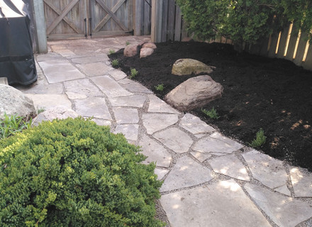 Stone path from garage