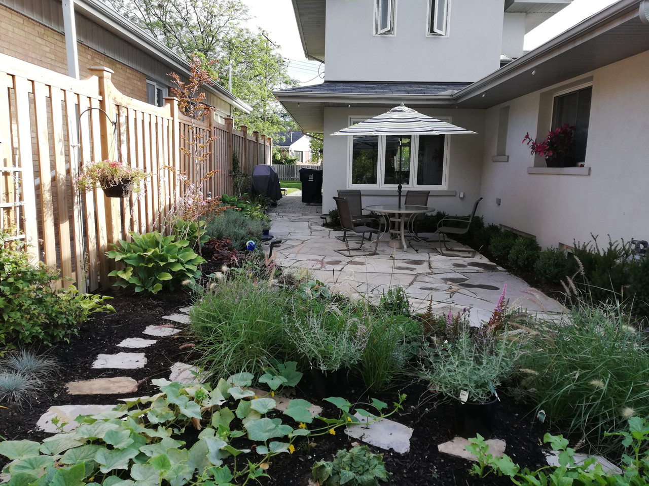 Natural landscape with stone patio
