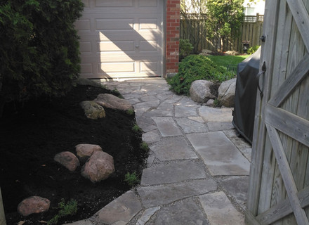 Stone path view from driveway