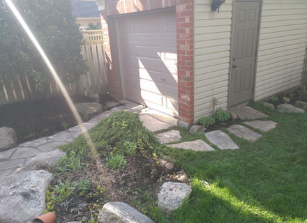 Sideview including step stone path