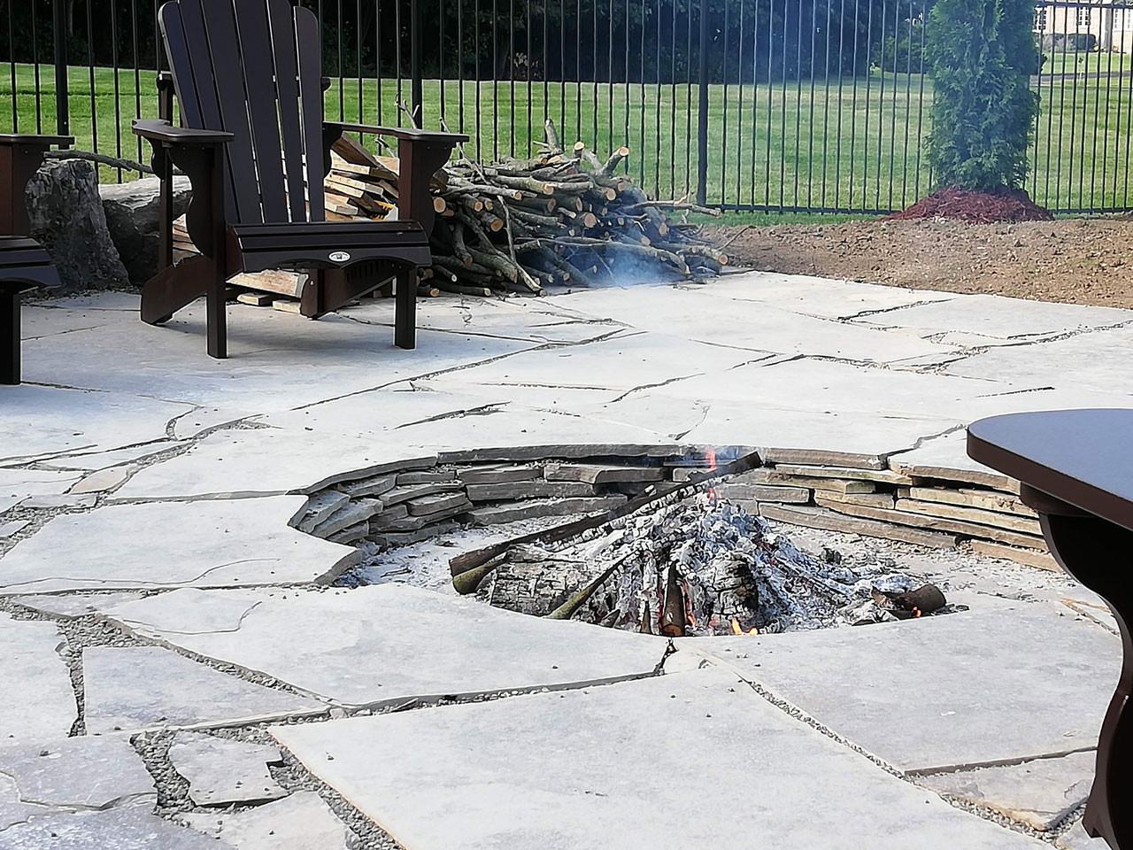 Fire Pit Stone Deck Surround