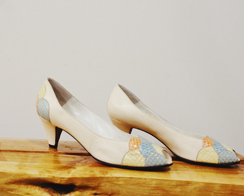 3c224d852a1 Vintage 1980s BALLY Peep Toe pumps with pastel coral detailing.