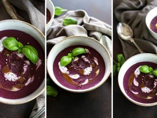 隠し味にピーナッツバター!ココナッツと紫芋のスープ