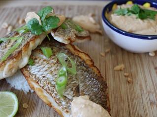 真鯛のソテー -ピーナッツバターソース添え-