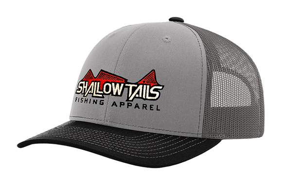 Gray, Charcoal, & Black - Red Logo Hat