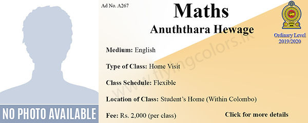 Maths Home Visit Local OLevel Tuition in