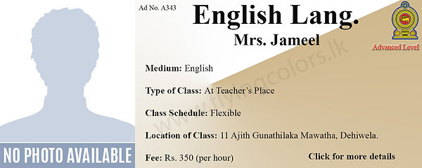 English Language Tuition in Dehiwala National/Local A/L