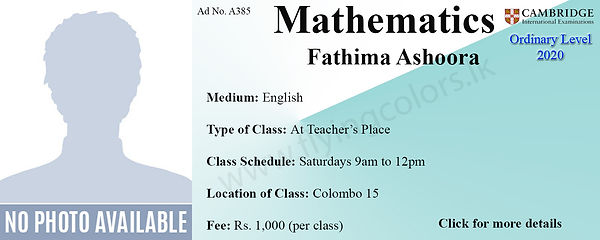 Maths Cambridge O/L 2020 Tuition in Colombo 15