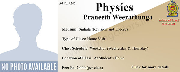Physics Local ALevel Tuition in Colombo - Home Visit Tuition